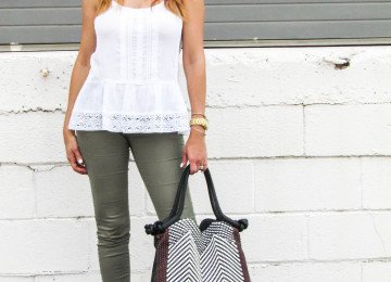 Olive Jeans White Tank