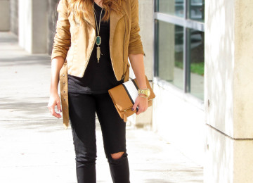 Brown Faux Suede Jacket Outfit