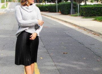 Pleated Leather Skirt Chunky Knit Sweater