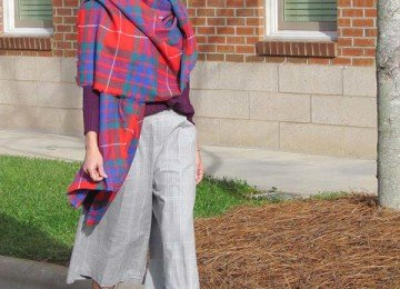 Old Navy Grey Culottes and Vibrant Plaid Scarf