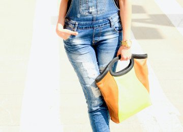 denim overalls two tickets handbag