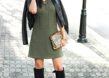 Lace Up Olive Dress