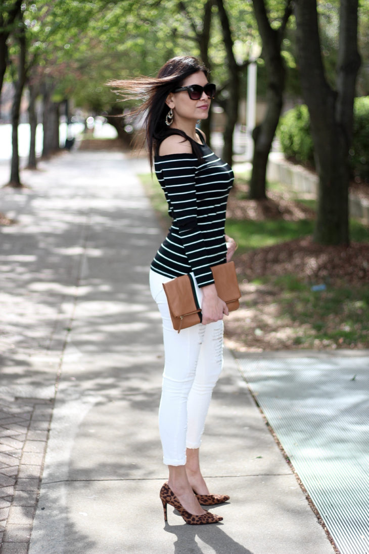 Cold shoulder top and white ripped jeans