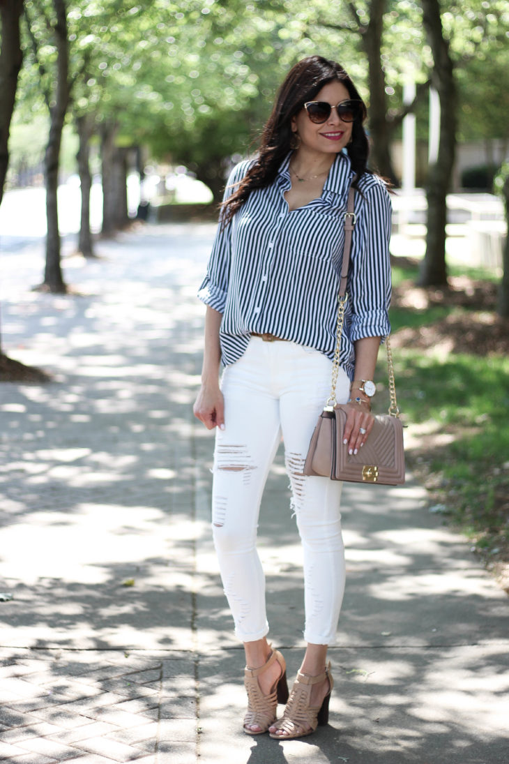 Striped Button Up Shirt Ripped Denim