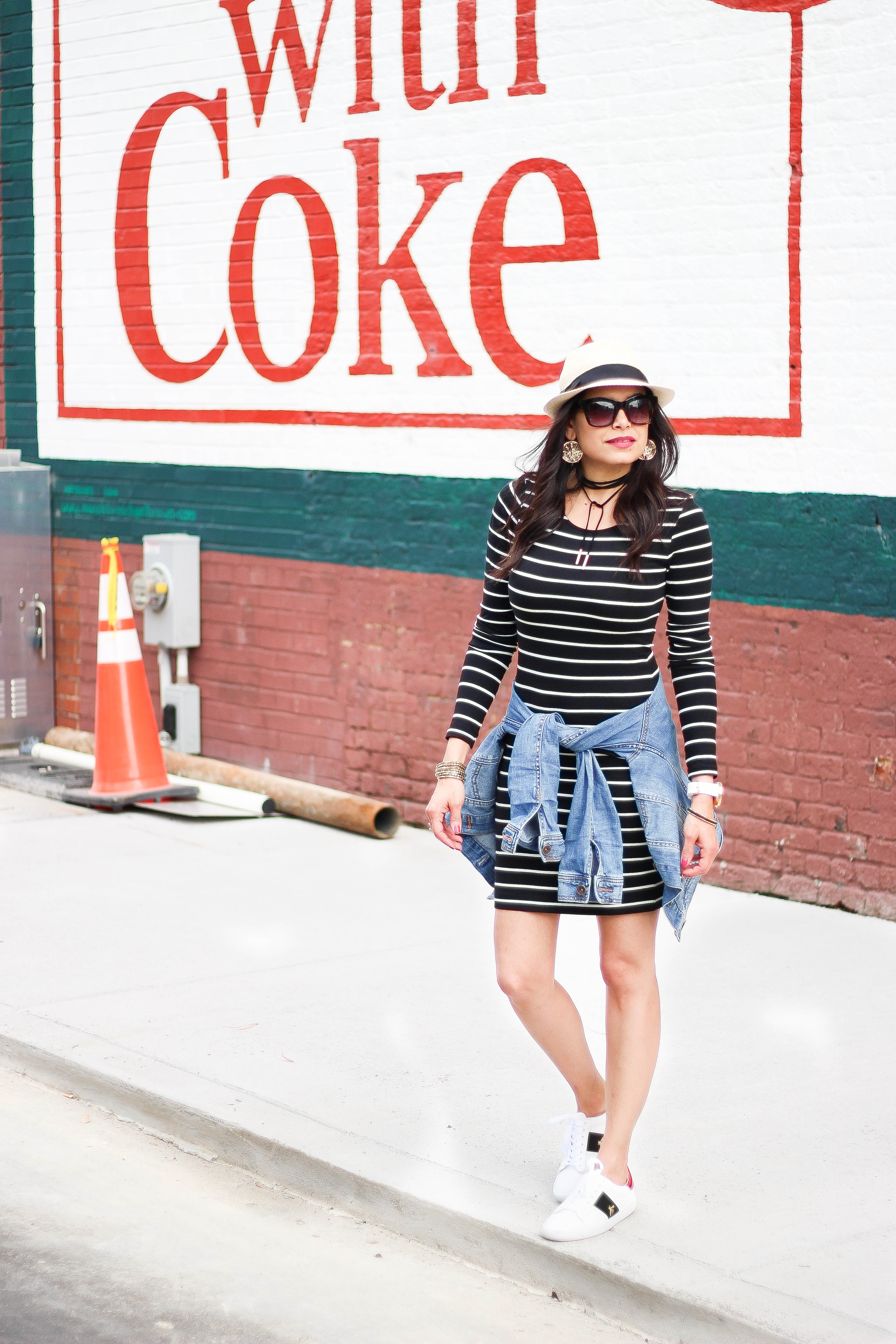 2017 05 fashion jersey dress - Striped Jersey Dress And Designer Inspired Sneakers