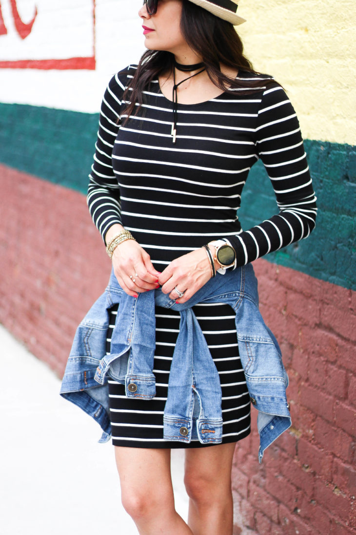 Striped Jersey Dress and Designer Inspired Sneakers