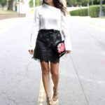 Leather and lace mini skirt