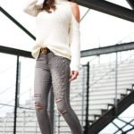 Pearl embellished jeans