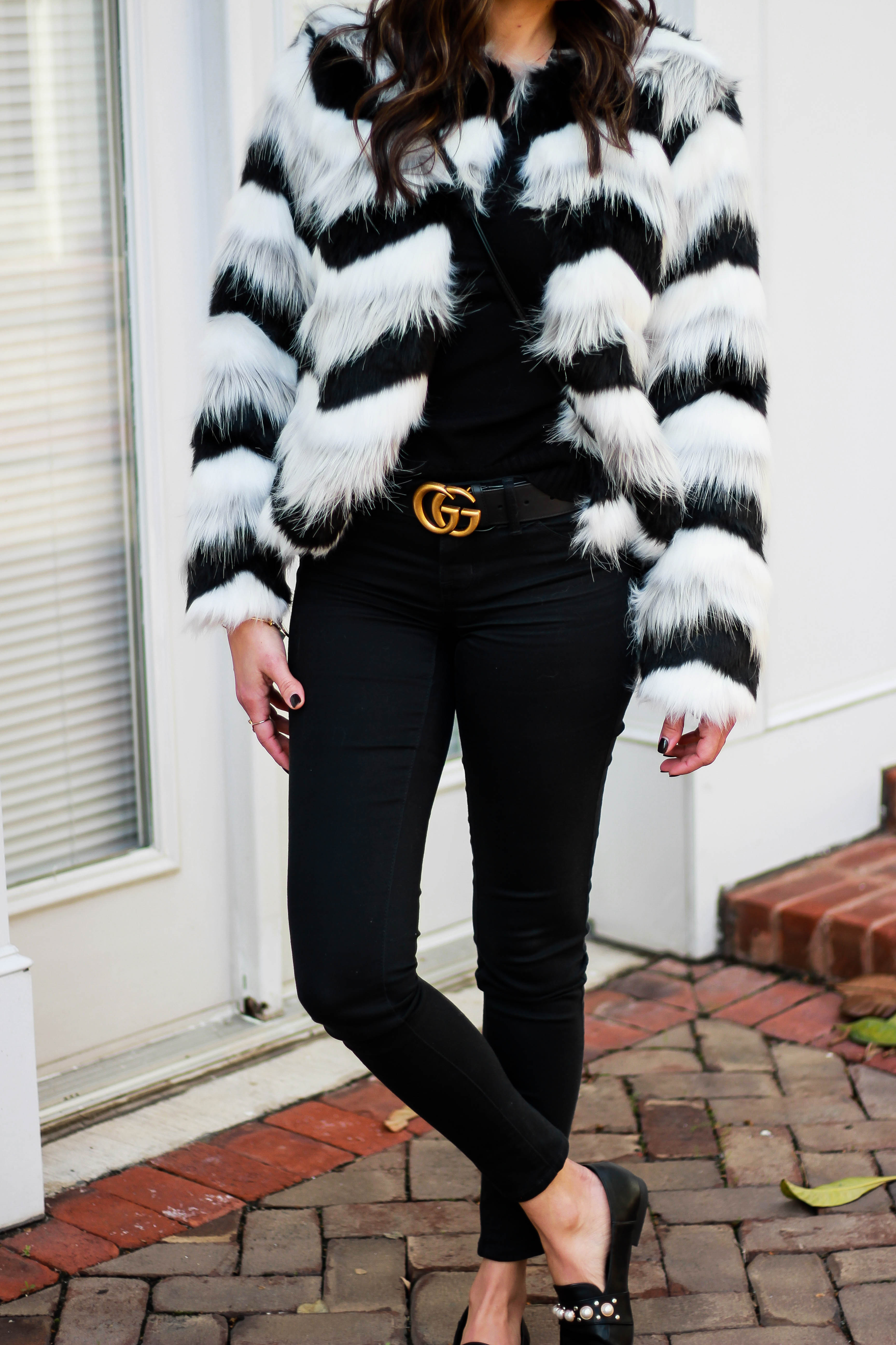 Fur Coat Conductor Hat Pearl Loafers